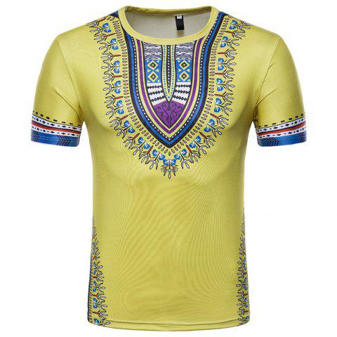 Unique Men's Summer Indian Totem Print Round Neck T-Shirt