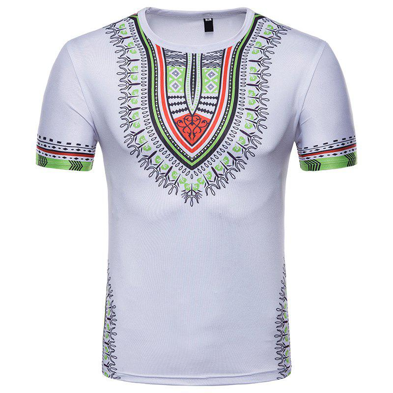 Chic Men's Summer Indian Totem Print Round Neck T-Shirt