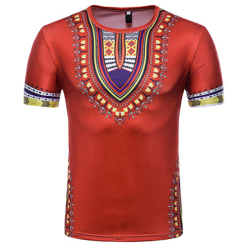 Store Men's Summer Indian Totem Print Round Neck T-Shirt