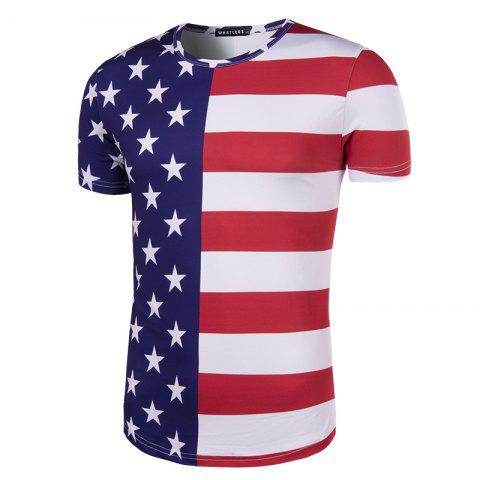 Affordable 2018 FIFA World Cup Fans Flag Print Men's Round Neck T-Shirt