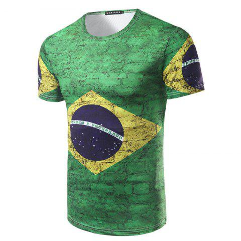 Latest 2018 FIFA World Cup Fans Flag Print Men's Round Neck T-Shirt