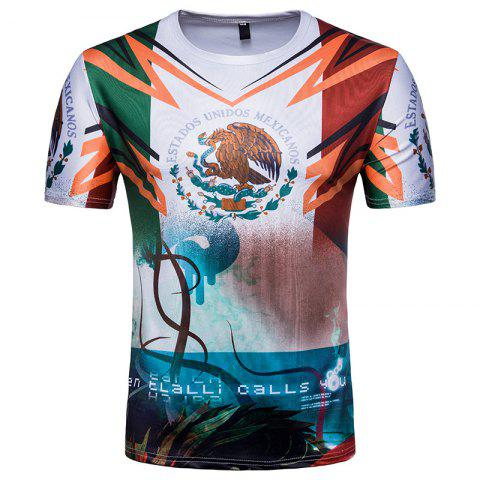 Discount 2018 FIFA World Cup Fans Flag Print Men's Round Neck T-Shirt