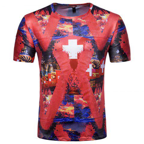 Sale 2018 FIFA World Cup Fans Flag Print Men's Round Neck T-Shirt