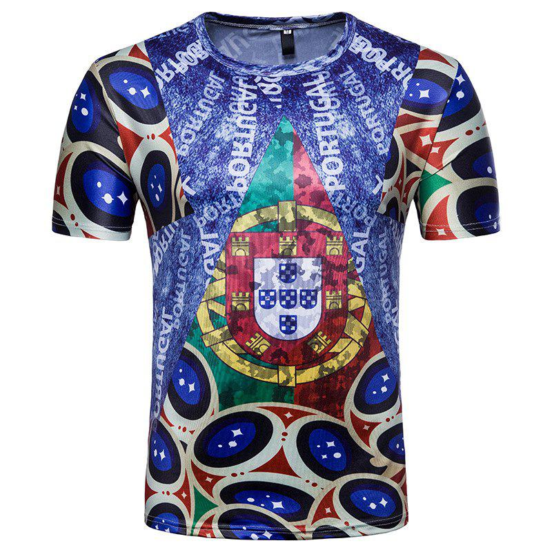 Fancy 2018 FIFA World Cup Fans Flag Print Men's Round Neck T-Shirt