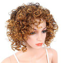Short Curly Blonde Mix Heat Resistant Fiber Synthetic Hair Wig for White Women -