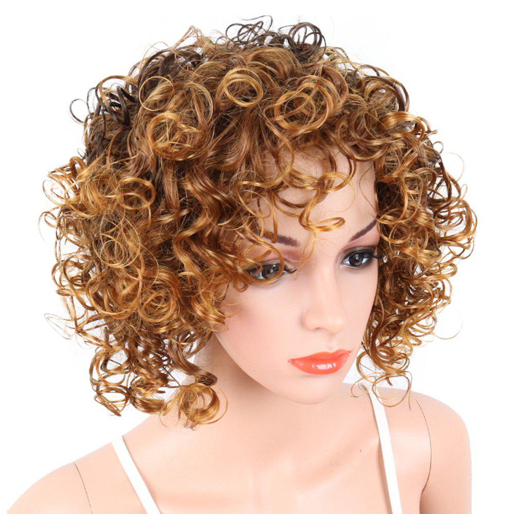 Unique Short Curly Blonde Mix Heat Resistant Fiber Synthetic Hair Wig for White Women