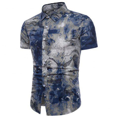 Outfit Summer New Men's Short-Sleeved Print Size Men'S Shirts