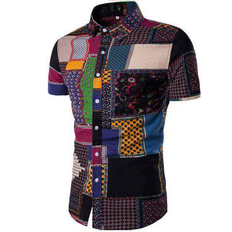Chic Summer New Men's Short-Sleeved Print Size Men'S Shirts