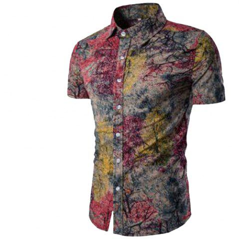 Trendy Summer New Men's Short-Sleeved Print Size Men'S Shirts