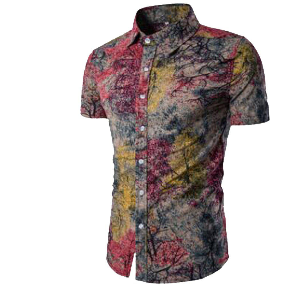 Trendy Summer New Men's Short-Sleeved Print Size Shirts