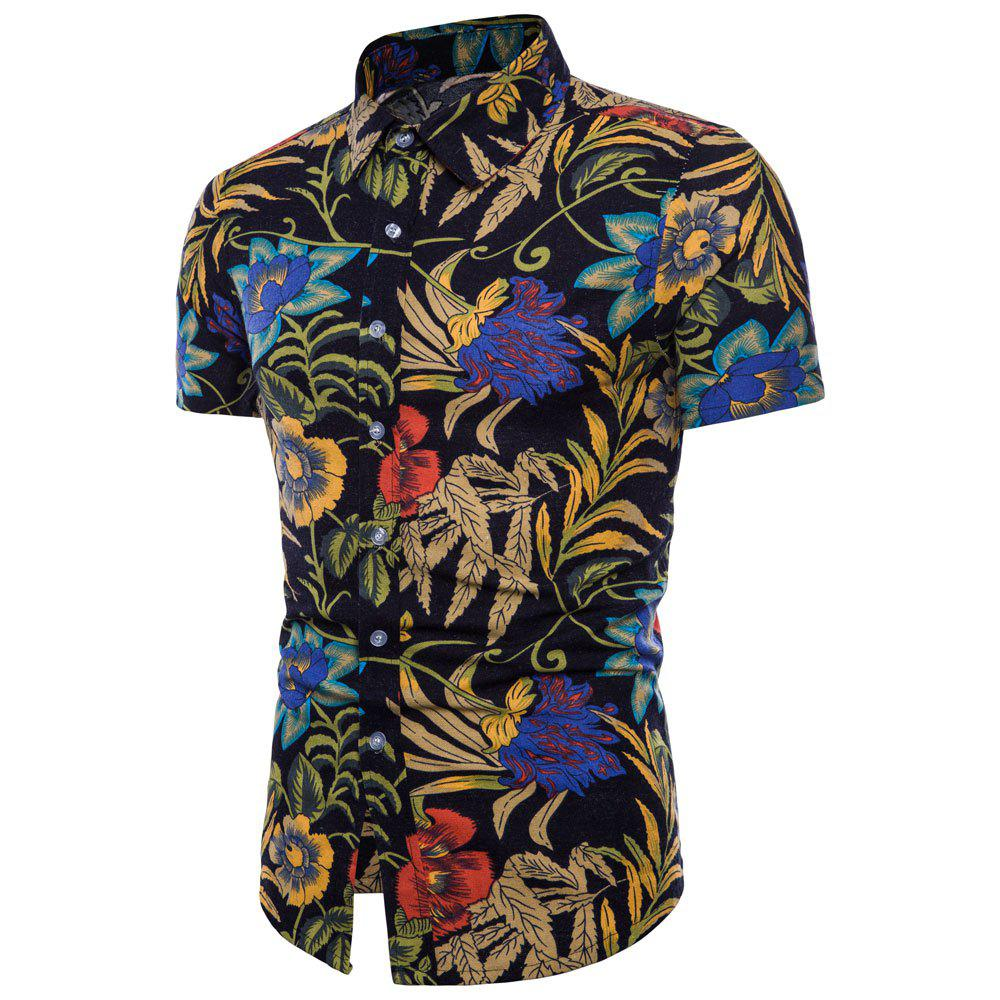 Hot Summer New Men's Short-Sleeved Print Size Shirts