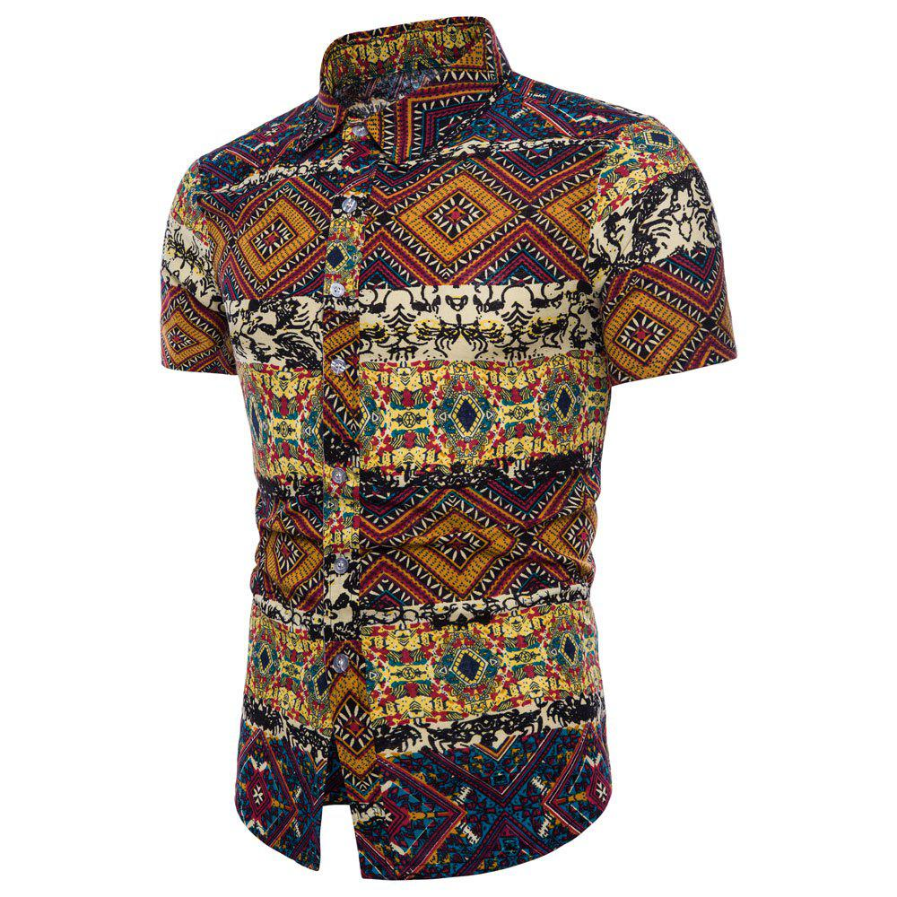 Chic Summer New Men's Short-Sleeved Print Size Shirts