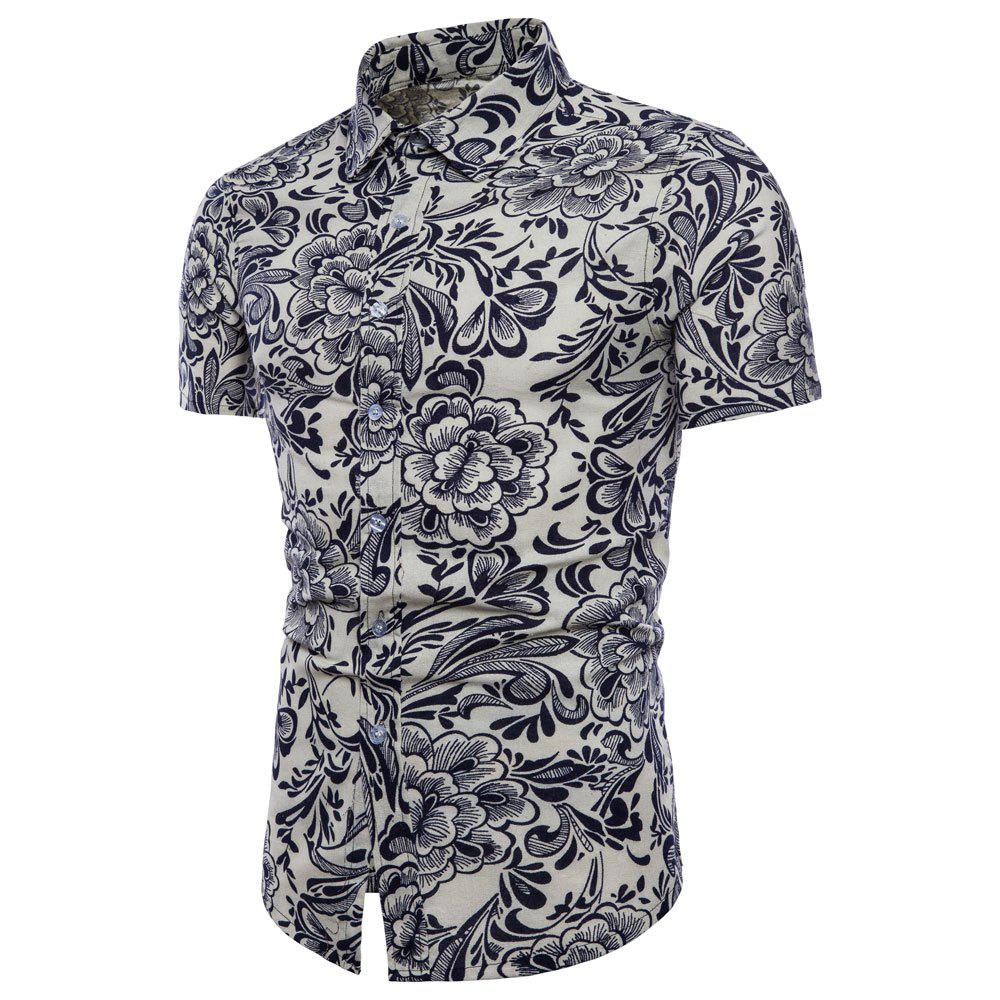 Shops Summer New Men's Short-Sleeved Print Size Shirts