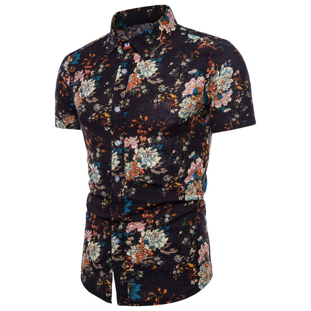 Latest Summer New Men's Short-Sleeved Print Size Shirts