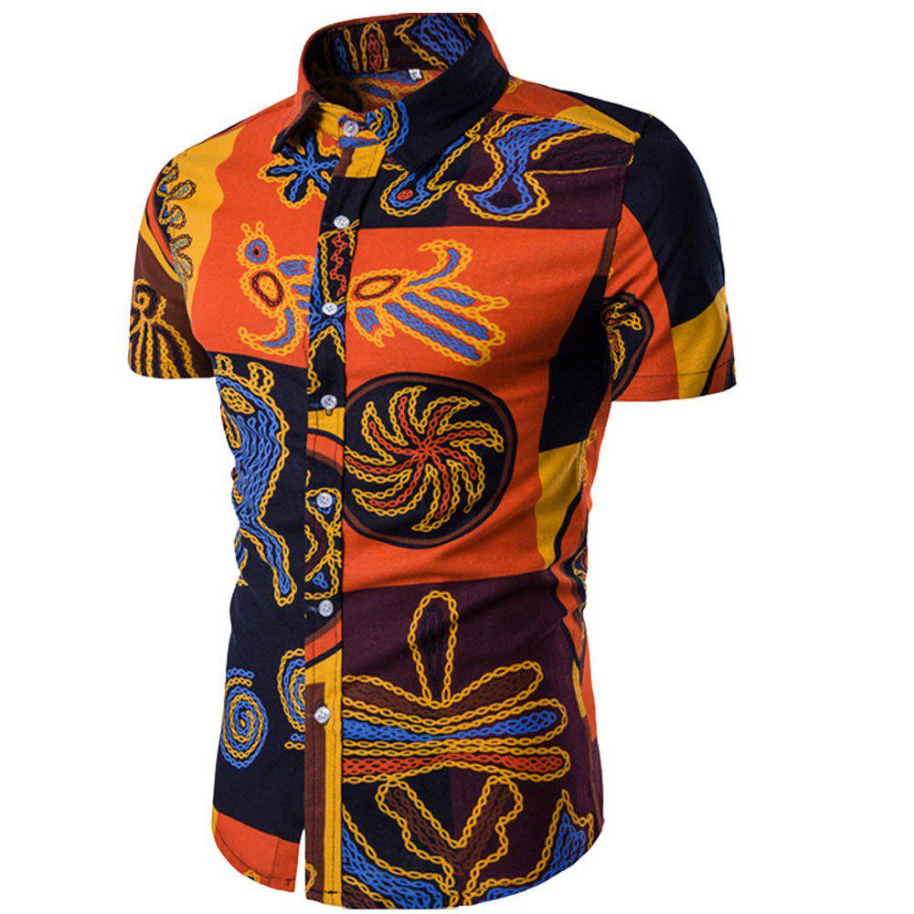 Shop Summer New Men's Short-Sleeved Print Size Shirts