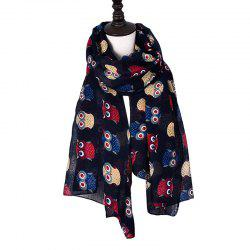 Fashion Cute Animal Black White Blue Cartoon Owl Print Loop Scarf -