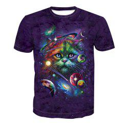 T-shirt d'impression de chat à manches courtes -