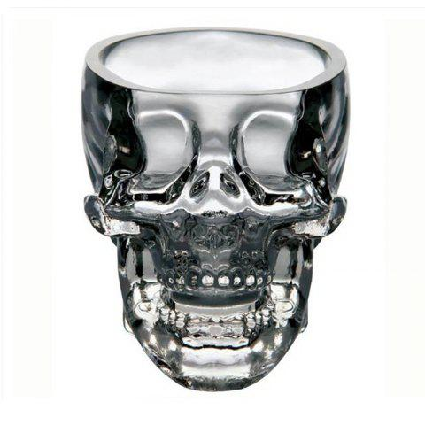 Trendy Clear Heavy Base Glass Skull Face Drinking Mugs Glass 75ml