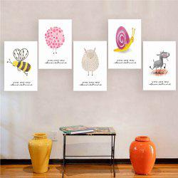 W172 Small Animals Unframed Art Wall Canvas Prints for Home Decorations 5PCS -