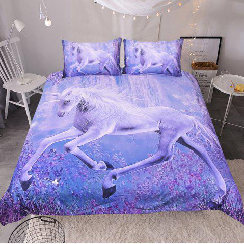 Outfits Purple Horse Pattern Bedding  Duvet Cover Set Digital Print 3pcs