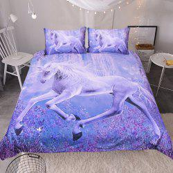 Purple Horse Pattern Bedding  Duvet Cover Set Digital Print 3pcs -