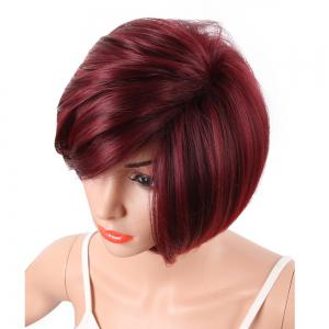 Белые женщины Short Bob Style Red Two Tone Color Natural Synthetic Hair Full Wig -