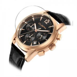 Men Sports Retro Design Leather Band Quartz Wrist Watch -