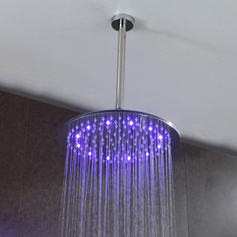Shops CP-200YL SUS304 Stainless Steel 8-INCH Round Mirror LED Light Shower Head