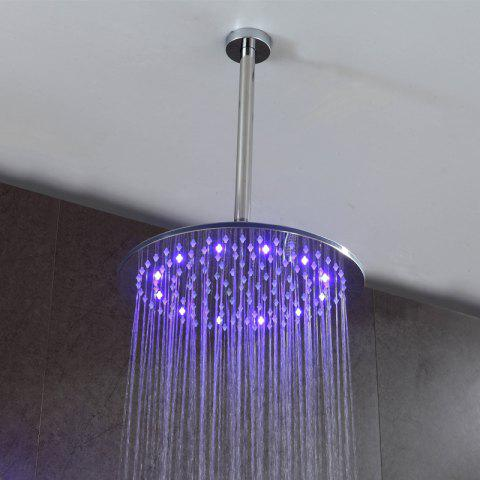 Fashion CP-250YL SUS304 Stainless Steel 10-INCH Round Mirror LED Light Shower Head