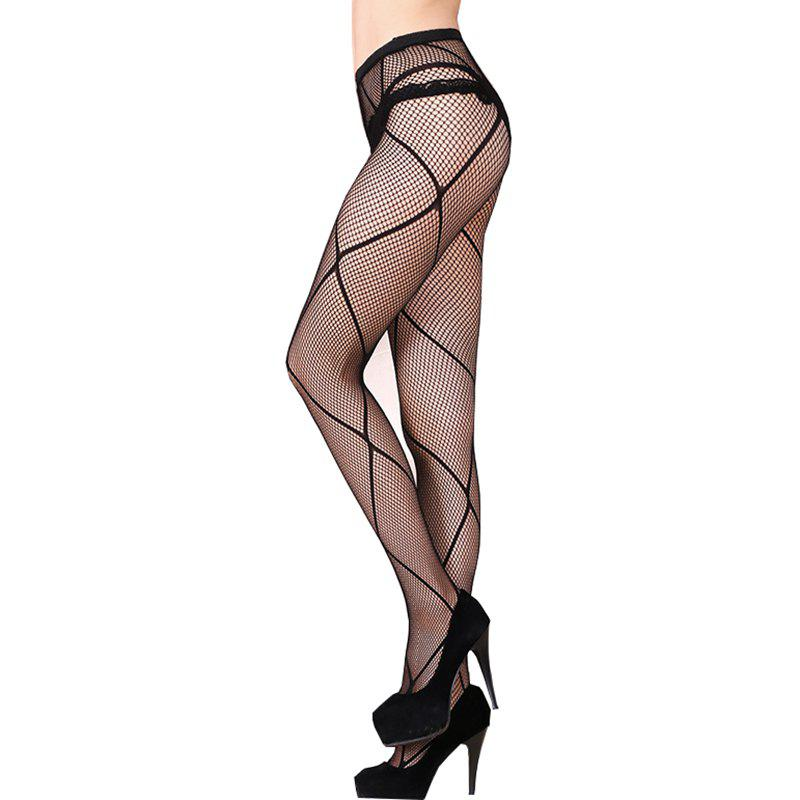 Les collants ultra-minces de taille plus de filet de coupe filent de petits collants de dentelle de maille de dentelle