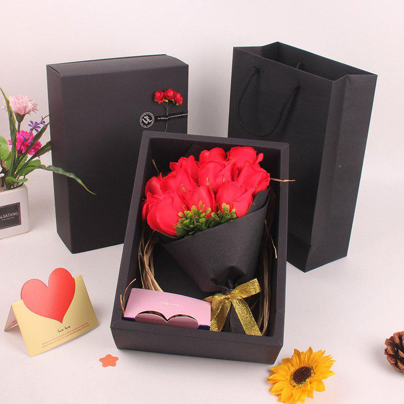 New Mother'S Day Gift Black 11 Roses Soap Bouquet Gift Box