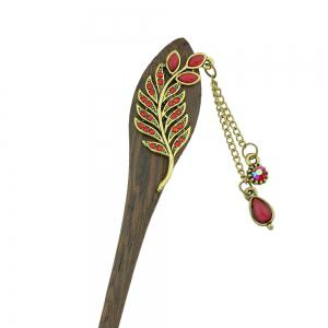 Colorful Rhinestone Leaf with Water Drop Charm Hairpin -