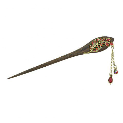 Best Colorful Rhinestone Leaf with Water Drop Charm Hairpin