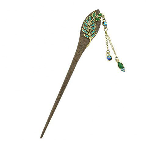 Buy Colorful Rhinestone Leaf with Water Drop Charm Hairpin