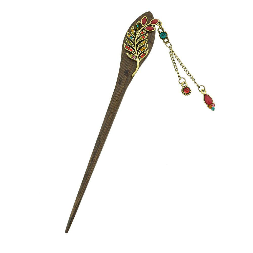 New Colorful Rhinestone Leaf with Water Drop Charm Hairpin