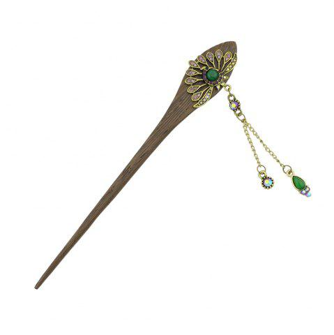 Online Colorful Rhinestone Peacock Shape Wood Hair Stick