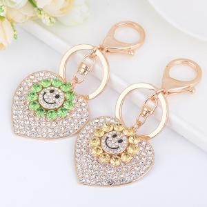Sun Heart Keychain Rhinestone Key Ring Women Bag Accessories With Smile Face Key -