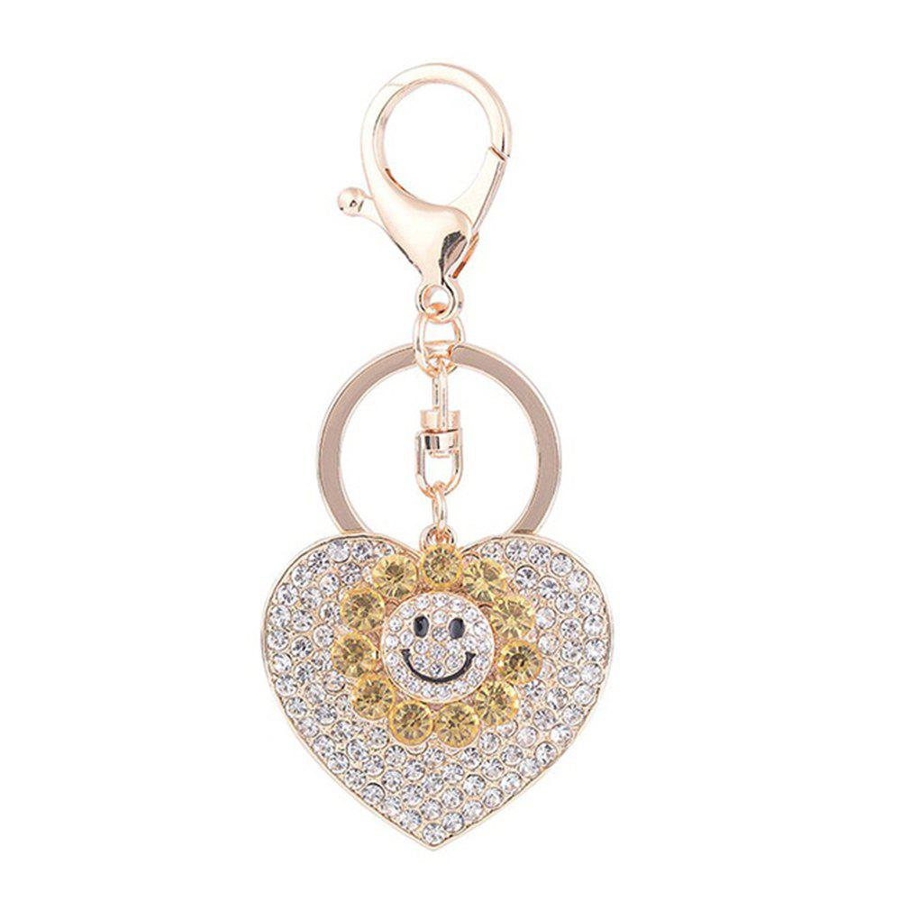 Sale Sun Heart Keychain Rhinestone Key Ring Women Bag Accessories With Smile Face Key