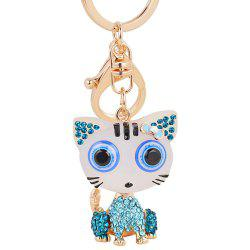 Cat Keychain for Women Cute Animal keychains Resin Crystal Pendant Key Ring Hold -