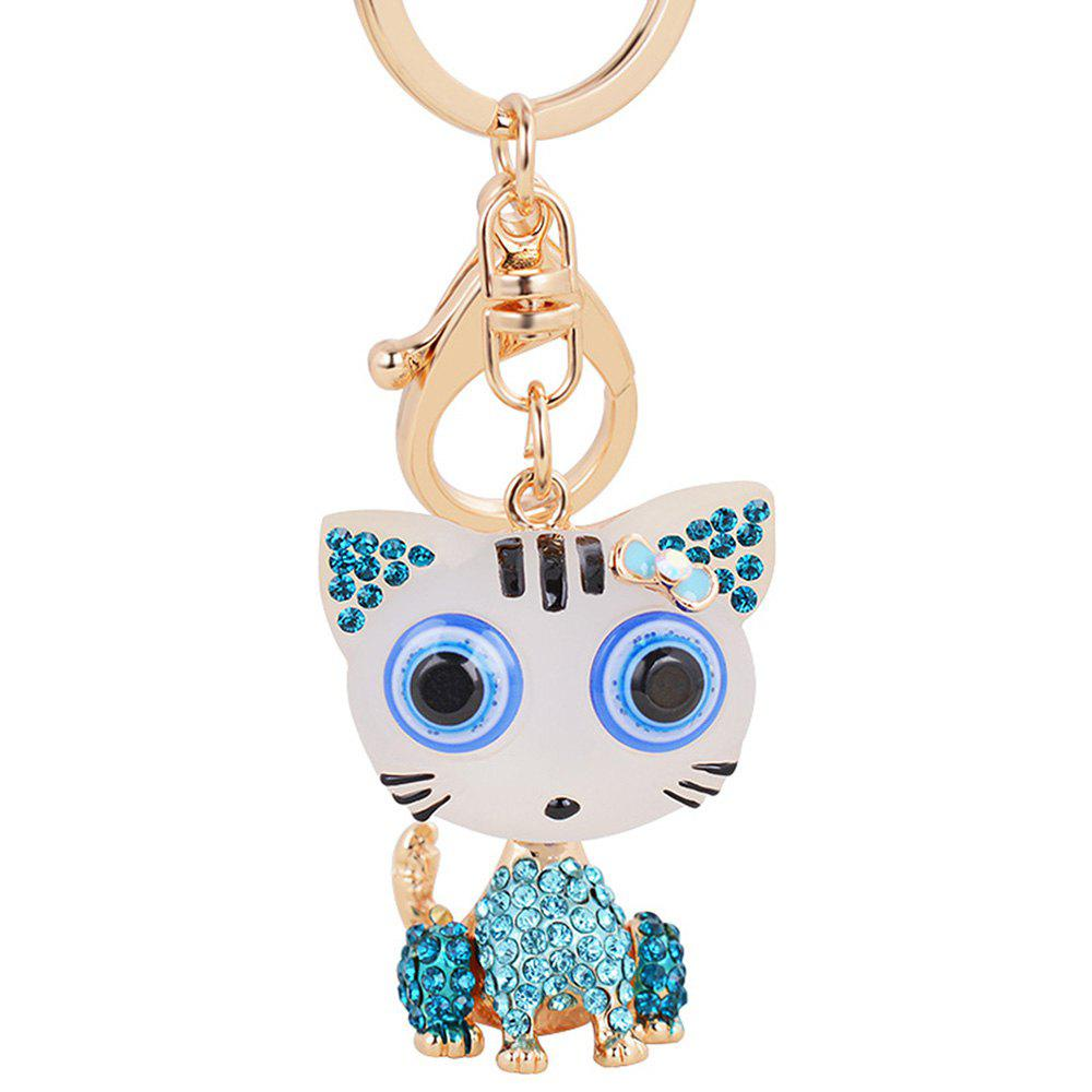 Outfit Cat Keychain for Women Cute Animal keychains Resin Crystal Pendant Key Ring Hold