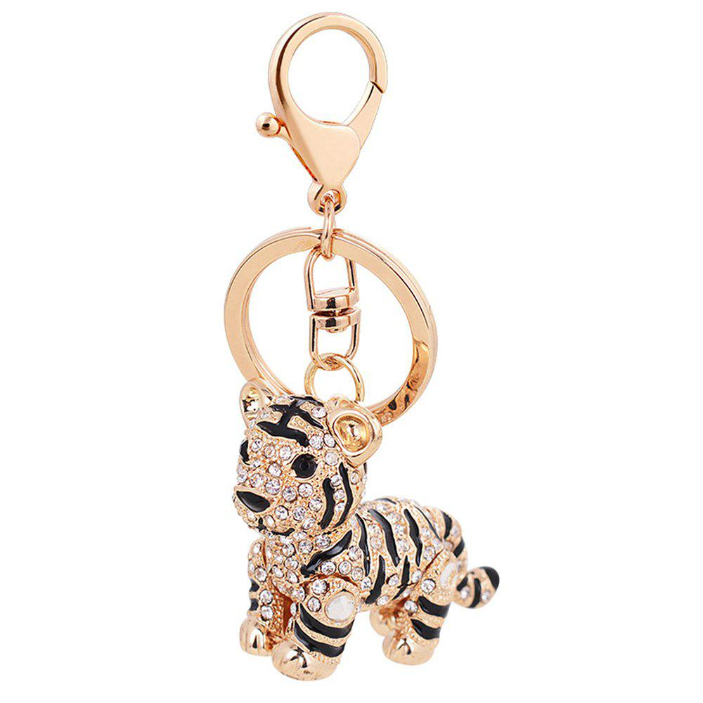 Fashion Car Key Rhinestone Exquisite Animal Little Tiger Keychain Charm Bag