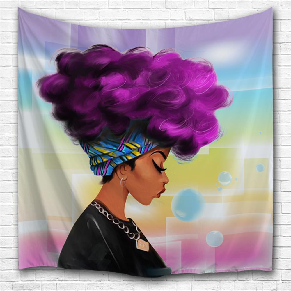 2018 purple hair girl 3d printing home wall hanging tapestry for