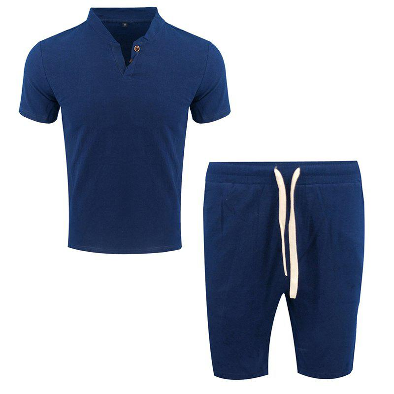 Online Men's Fashion Suit Casual Short Sleeve Two-piece