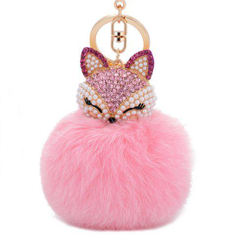 Discount Real Rabbit Fur Ball with Artificial Fox Head Inlay Pearl Rhinestone Key Chain