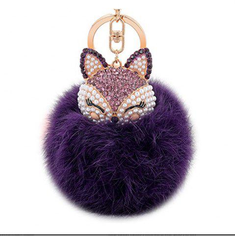 Outfits Real Rabbit Fur Ball with Artificial Fox Head Inlay Pearl Rhinestone Key Chain