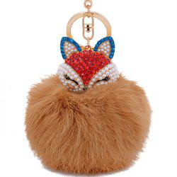 Real Rabbit Fur Ball with Artificial Fox Head Inlay Pearl Rhinestone Key Chain -