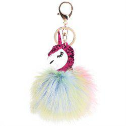 Creative Animal Keychain for Women Creativity Fur Ball Pompom Pendant Keychains -