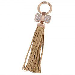 Creative Key Bow Leather Tassels Keychain Car Bag Pendant for Women -