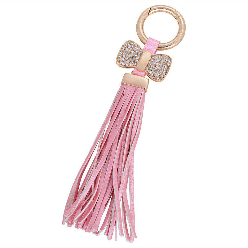 Chic Creative Key Bow Leather Tassels Keychain Car Bag Pendant for Women
