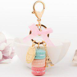 Macaron Cake Eiffel Tower Keychain Bowknot Car Keyring Bag Purse Pendant -
